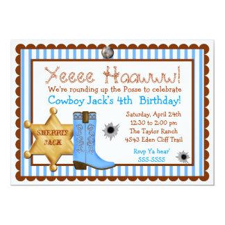 "Cowboy  Wild West  Birthday  Invitations 5"" X 7"" Invitation Card"