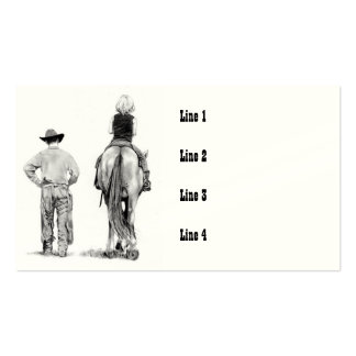 COWBOY with Girl on Horse, Riding Lesson, Pencil Business Card Template