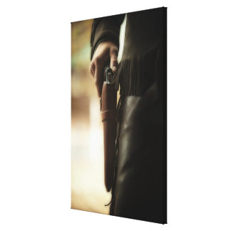 Cowboy with gun in holster canvas print