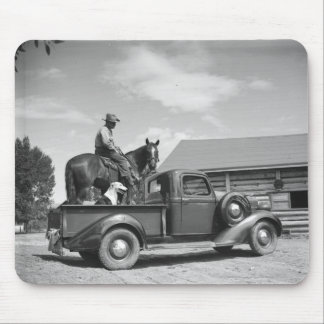Cowboy with horse in a truck mouse mat