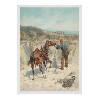 Cowboy with horse in Arroyo... (1324) Poster