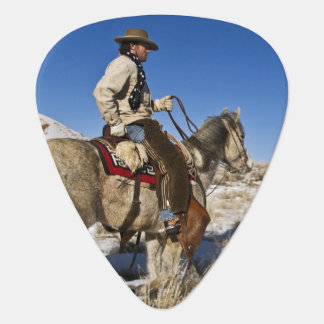 Cowboy with horses on the range on The Hideout Guitar Pick