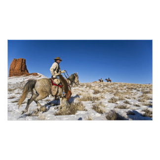 Cowboy with horses on the range on The Hideout Photo Print