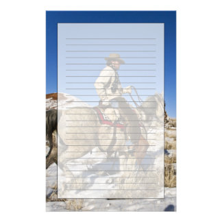 Cowboy with horses on the range on The Hideout Stationery