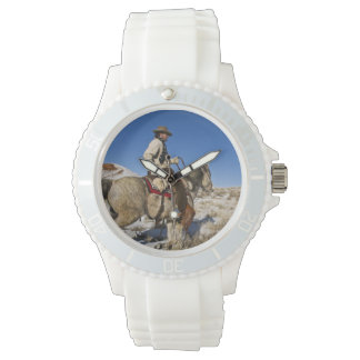 Cowboy with horses on the range on The Hideout Wrist Watches