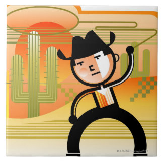 Cowboy with lasso and cactus tile