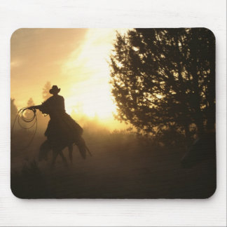 Cowboy with Lasso in Sunset Mouse Mat