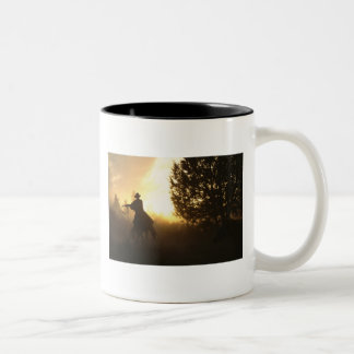 Cowboy with Lasso in Sunset Two-Tone Coffee Mug