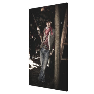 Cowboy with Pistol and Rifle Canvas Print
