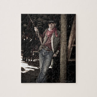 Cowboy with Pistol and Rifle Jigsaw Puzzle