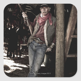 Cowboy with Pistol and Rifle Square Sticker