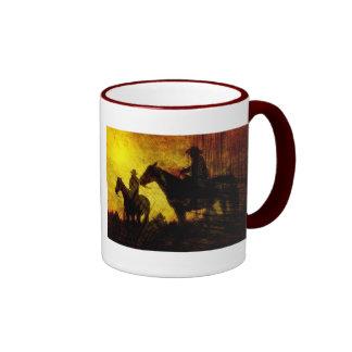 Cowboys and Horses Grunge Ceramic Mug