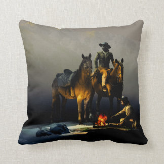 Cowboys and Horses Throw Pillow