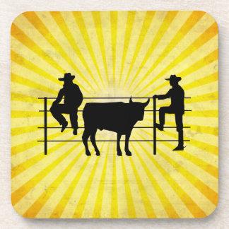 Cowboys at Ranch; yellow Beverage Coasters
