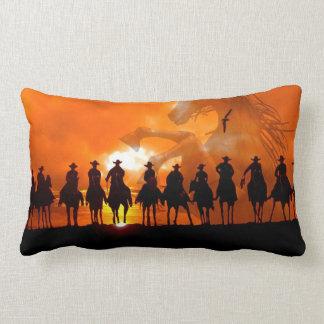 Cowboys at sunset western roundup American MoJo Pi Pillow