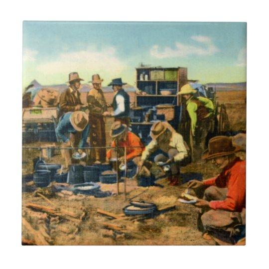 Cowboys at the Chuck Wagon Small Square Tile