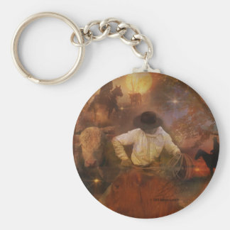 Cowboys - Boots, Horses & Western Sunsets Basic Round Button Key Ring