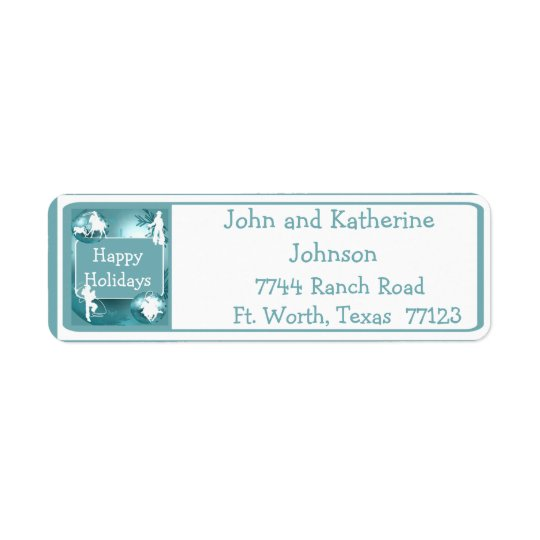 Cowboys Cowgirls Roping On Blue Photo Labels