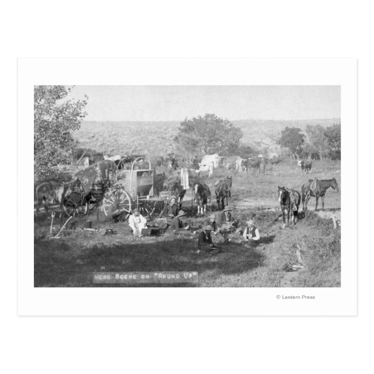 Cowboys Eating around a Campsite Photograph Postcard