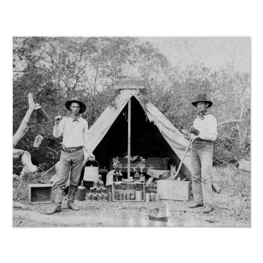 Cowboys in Camp, 1890. Vintage Photo Poster