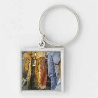 Cowboys in Chaps Silver-Colored Square Key Ring
