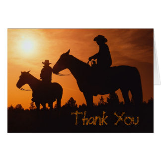 cowboys on horses, Thank You Note Card