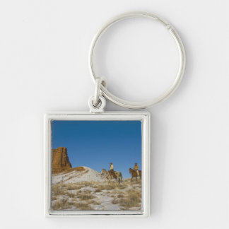 Cowboys on Ridge riding Horse through the Snow Silver-Colored Square Key Ring