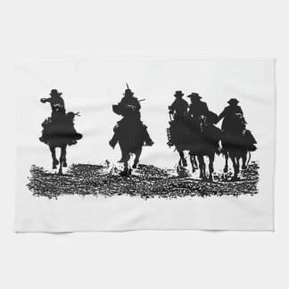 CowBoys riding their horses - for Kitchen Towel
