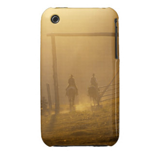 Cowboys riding through gate at dusk iPhone 3 Case-Mate cases