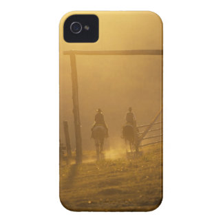 Cowboys riding through gate at dusk iPhone 4 Case-Mate cases