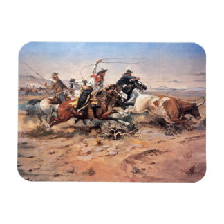 Cowboys roping a steer, 1897 (oil on canvas) rectangular photo magnet