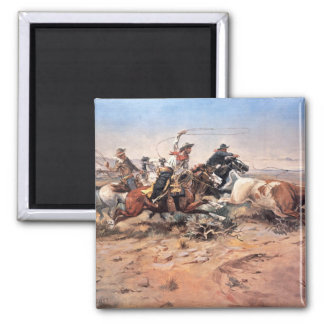 Cowboys roping a steer, 1897 (oil on canvas) square magnet