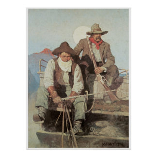 Cowboys the Stagecoach Art Print Poster