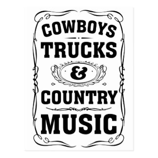Cowboys Trucks And Country Music Postcard
