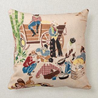 Cowboys - Vintage Wallpaper - Wild West Cushion