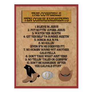 Cowgirl 10 Commandments POSTCARD