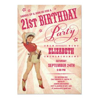 Cowgirl 21st Birthday Invitations