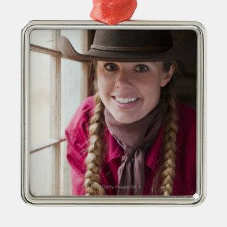 Cowgirl 2 Silver-Colored square decoration