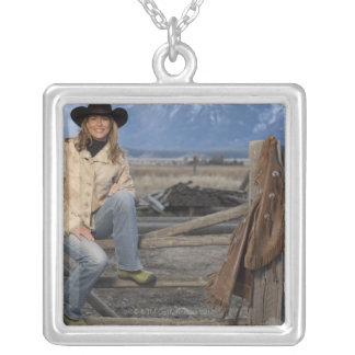 Cowgirl 3 square pendant necklace