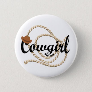 Cowgirl 6 Cm Round Badge