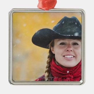 Cowgirl 6 Silver-Colored square decoration