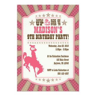 Cowgirl 9th Birthday Party Girl Invitation