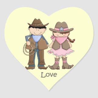 Cowgirl and Cowboy Couple in Love Heart Sticker