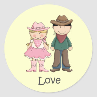 Cowgirl and Cowboy in Love Classic Round Sticker