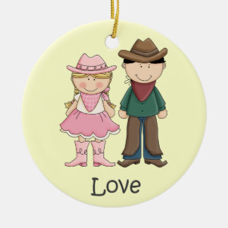 Cowgirl and Cowboy in Love Round Ceramic Decoration
