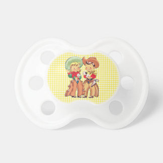 Cowgirl And Cowgirl Kids  Yellow Check Background Dummy
