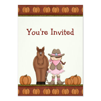 Cowgirl and Horse Autumn Birthday Invitation