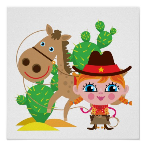 Cowgirl and Horse Poster