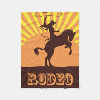 Cowgirl and Horse Rodeo Sunset Fleece Blanket