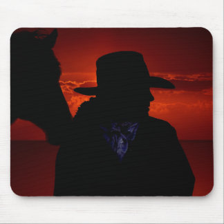 Cowgirl and Horse Silhouette Mouse Pad